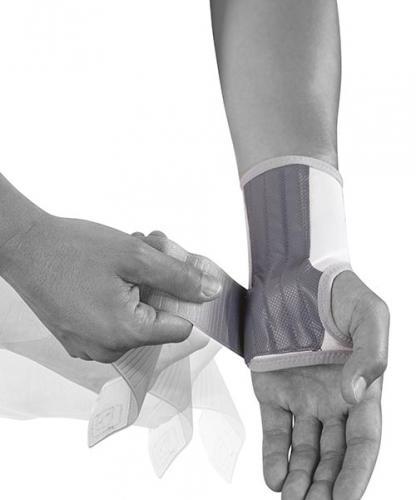 Handledsstöd med mediala och laterala skenor för stöd mot böjning och sträckning av handled